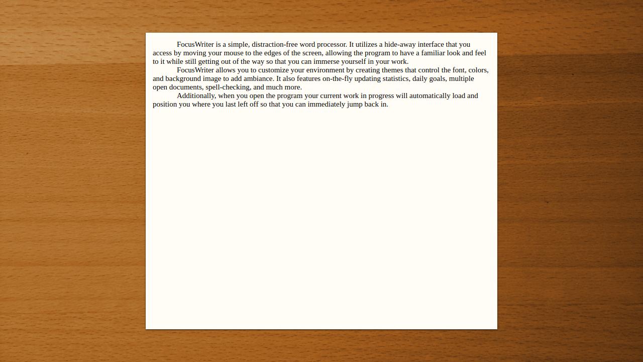 Screenshot of FocusWriter